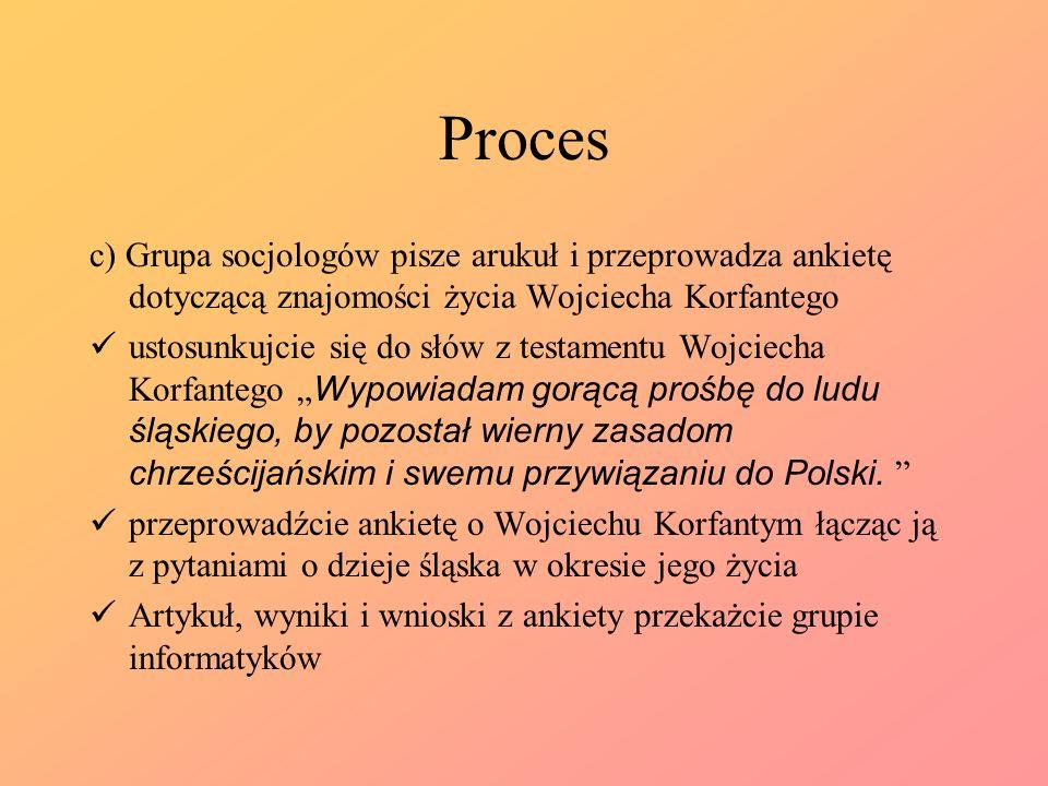 Proces c) Grupa socjologów pisze arukuł i przeprowadza ankietę dotyczącą znajomości życia Wojciecha Korfantego.