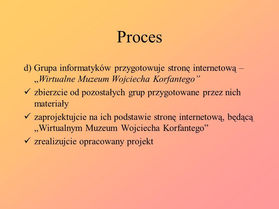"""Proces d) Grupa informatyków przygotowuje stronę internetową – """"Wirtualne Muzeum Wojciecha Korfantego"""