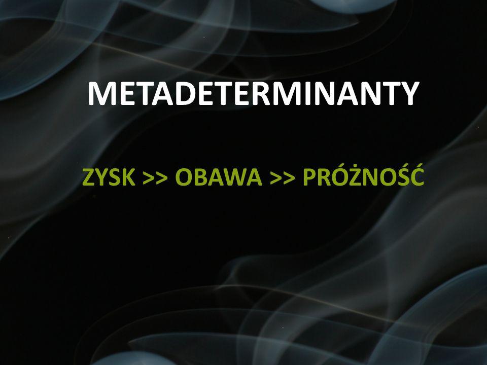 METADETERMINANTY ZYSK >> OBAWA >> PRÓŻNOŚĆ