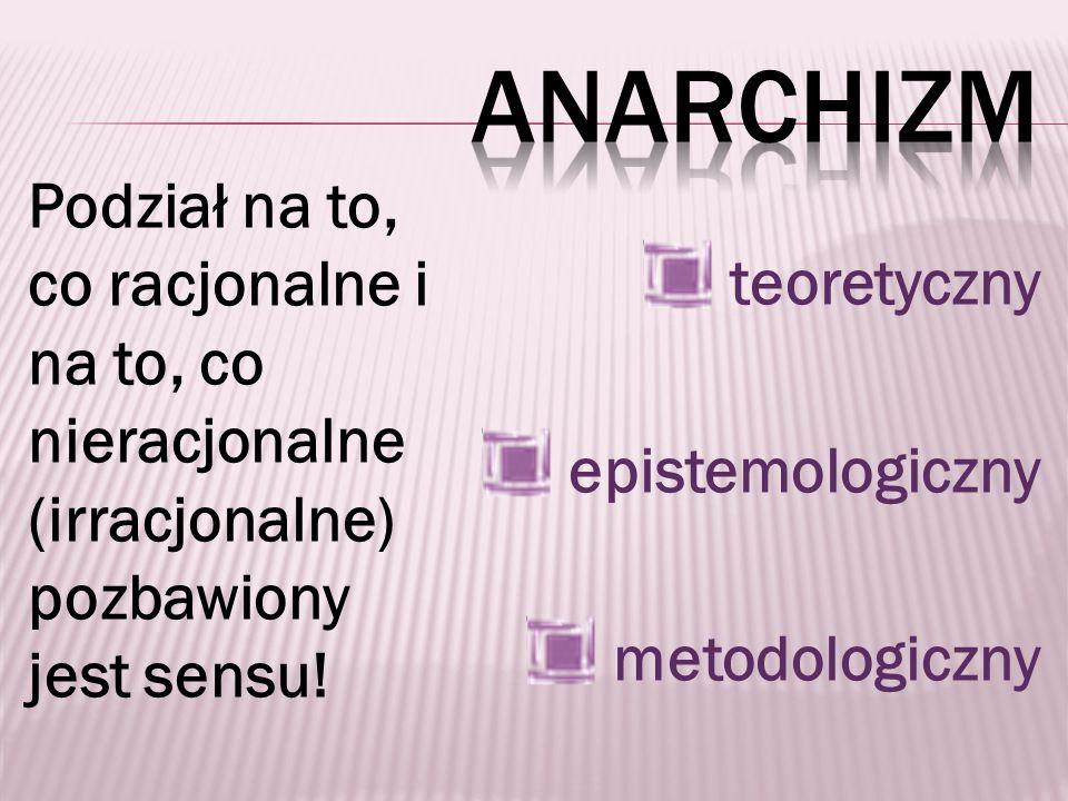anarchizm teoretyczny. epistemologiczny. metodologiczny.