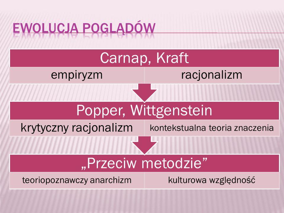 "Carnap, Kraft Popper, Wittgenstein ""Przeciw metodzie"