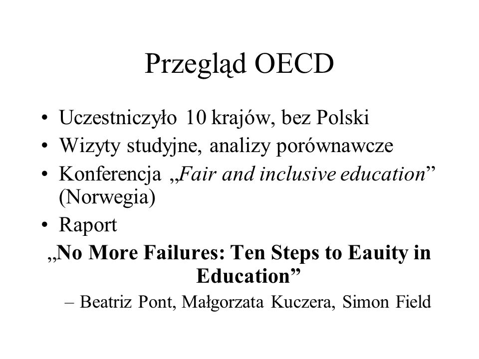 """No More Failures: Ten Steps to Eauity in Education"