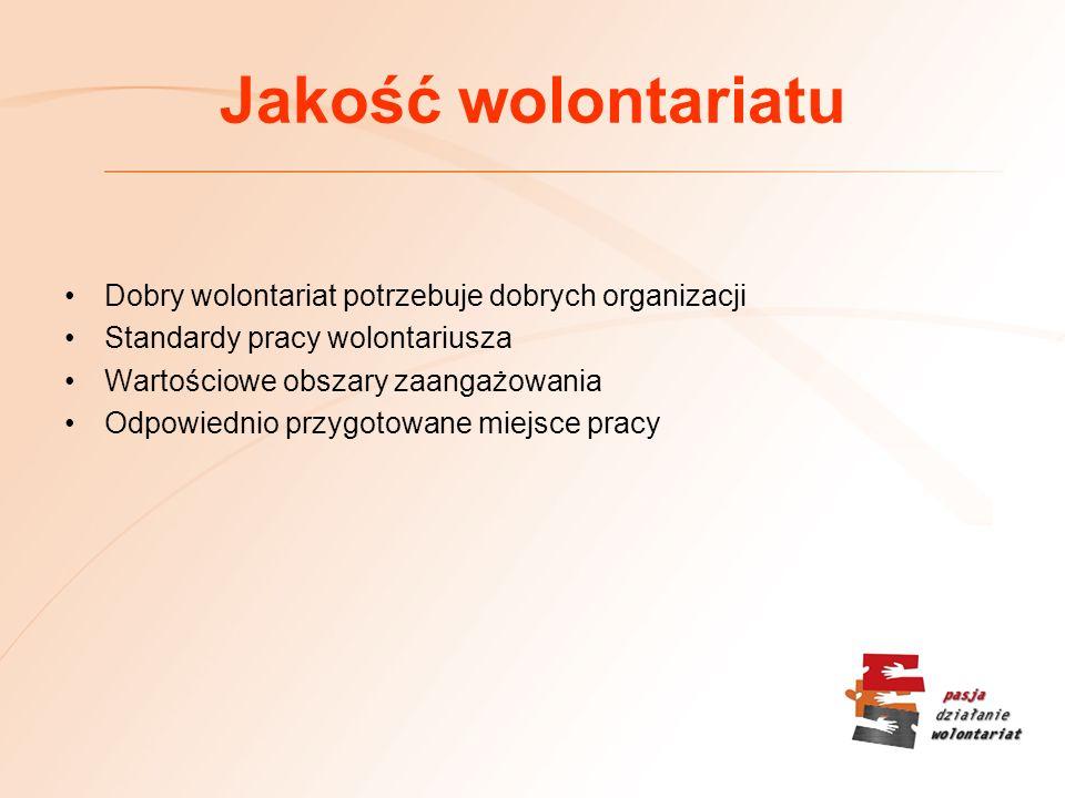 Jakość wolontariatu Dobry wolontariat potrzebuje dobrych organizacji