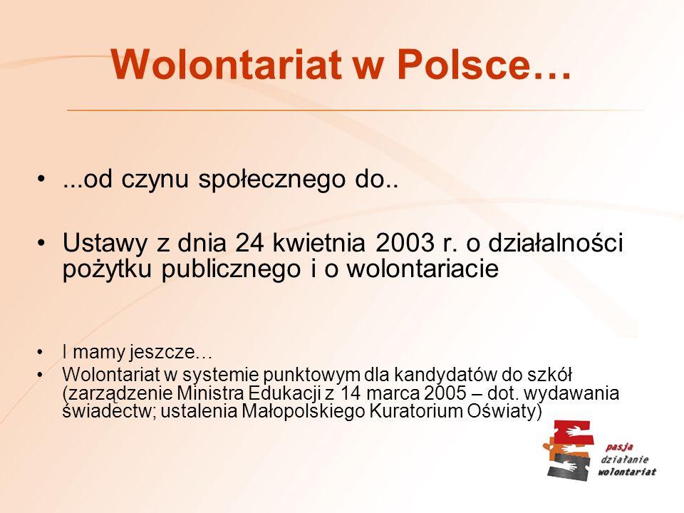 Wolontariat w Polsce… ...od czynu społecznego do..