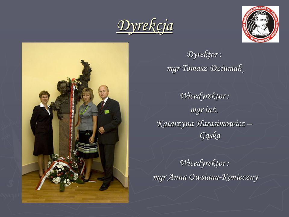 Dyrekcja Dyrektor : mgr Tomasz Dziumak Wicedyrektor : mgr inż.