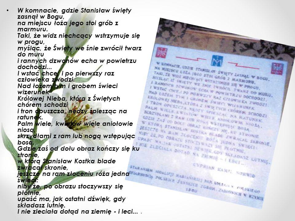 W komnacie, gdzie Stanisław święty zasnął w Bogu, na miejscu łoża jego stoi grób z marmuru.