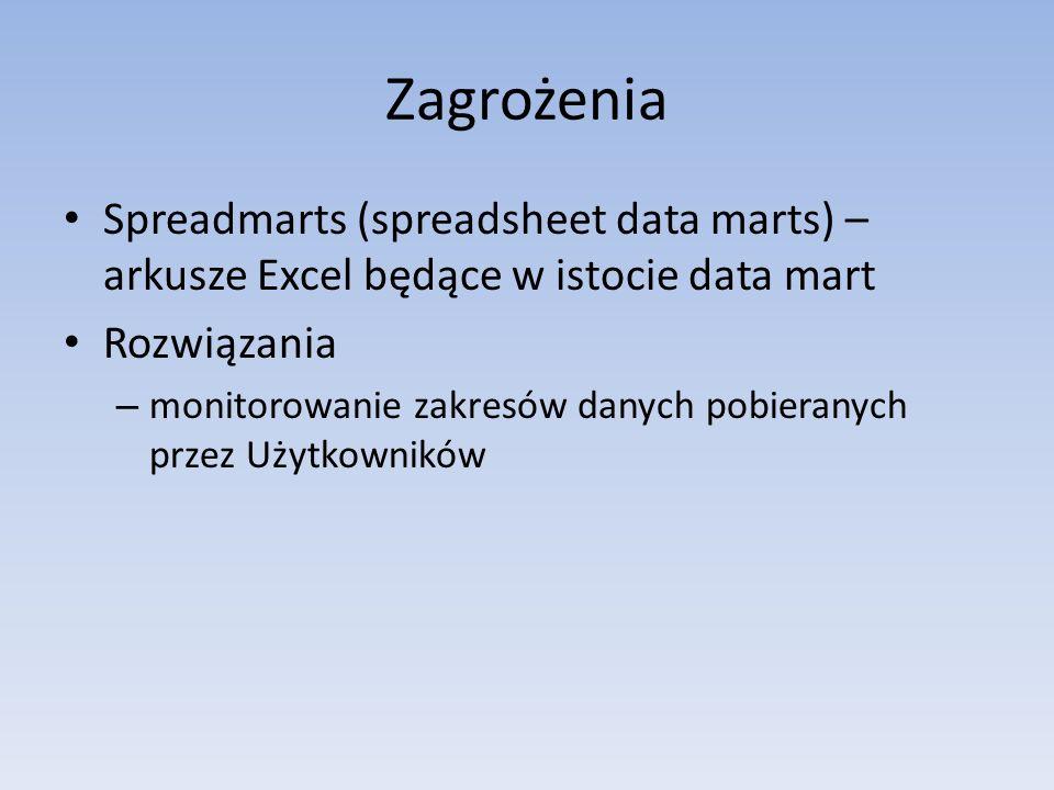 ZagrożeniaSpreadmarts (spreadsheet data marts) – arkusze Excel będące w istocie data mart. Rozwiązania.