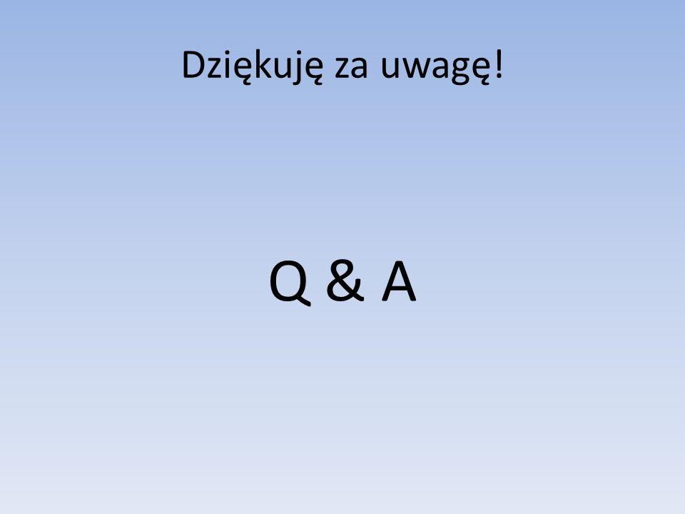 Dziękuję za uwagę! Q & A