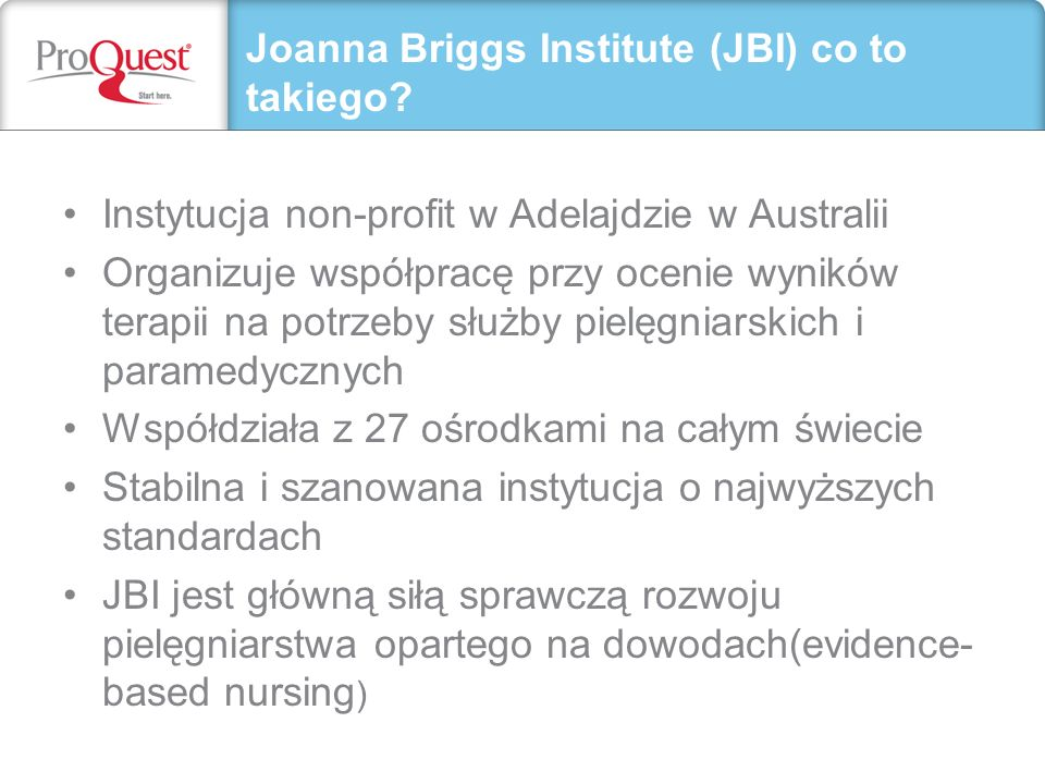 Joanna Briggs Institute (JBI) co to takiego