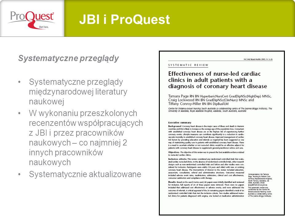 JBI i ProQuest Systematyczne przeglądy