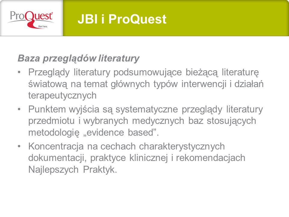 JBI i ProQuest Baza przeglądów literatury