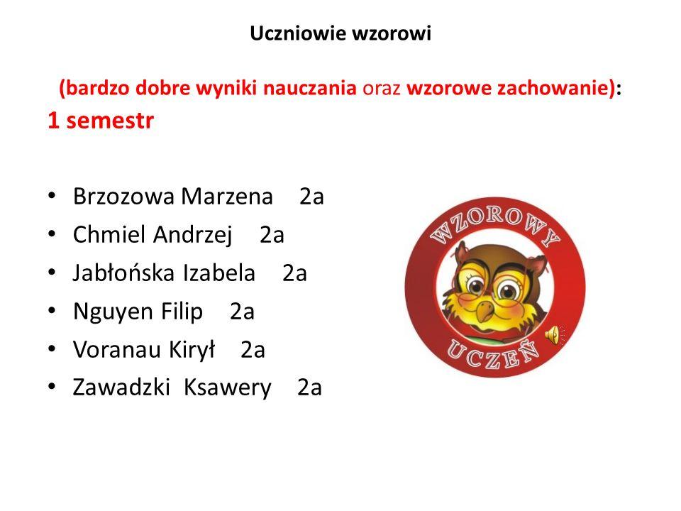 1 semestr Brzozowa Marzena 2a Chmiel Andrzej 2a Jabłońska Izabela 2a