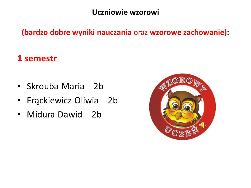 1 semestr Skrouba Maria 2b Frąckiewicz Oliwia 2b Midura Dawid 2b