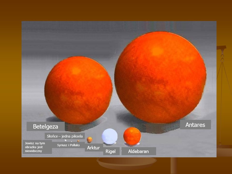 Antares Betelgeza Arktur Rigel Aldebaran Słońce – jedna piksela