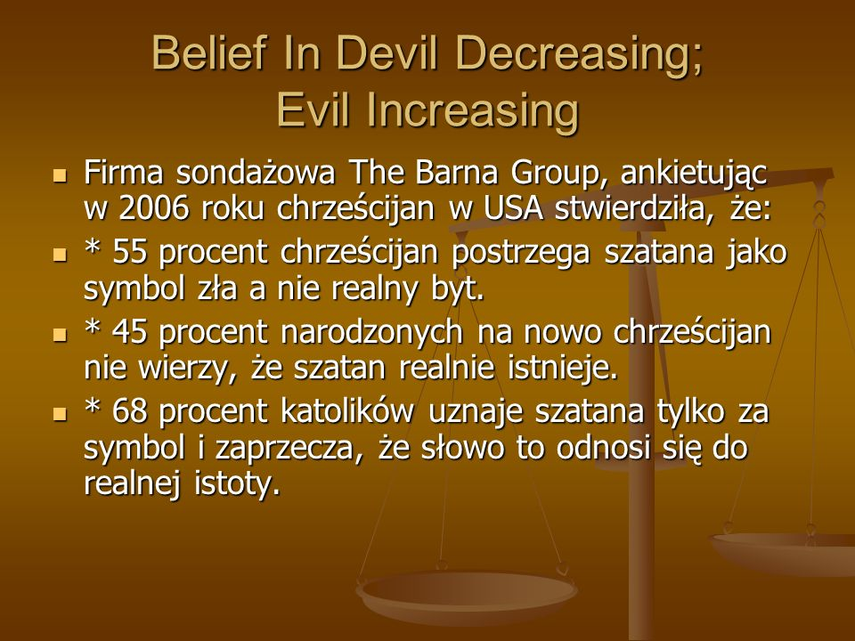 Belief In Devil Decreasing; Evil Increasing