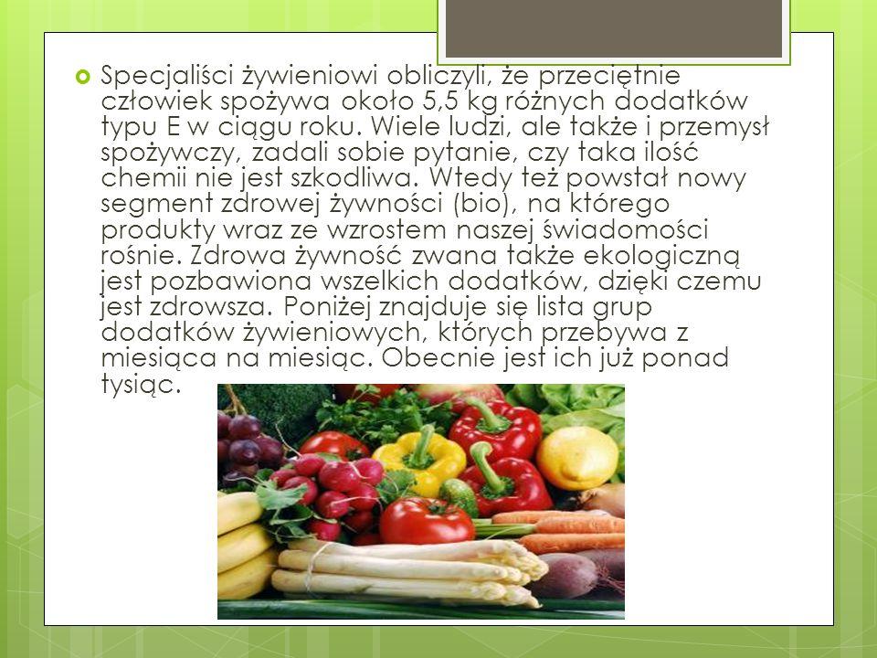 Specjaliści żywieniowi obliczyli, że przeciętnie człowiek spożywa około 5,5 kg różnych dodatków typu E w ciągu roku.