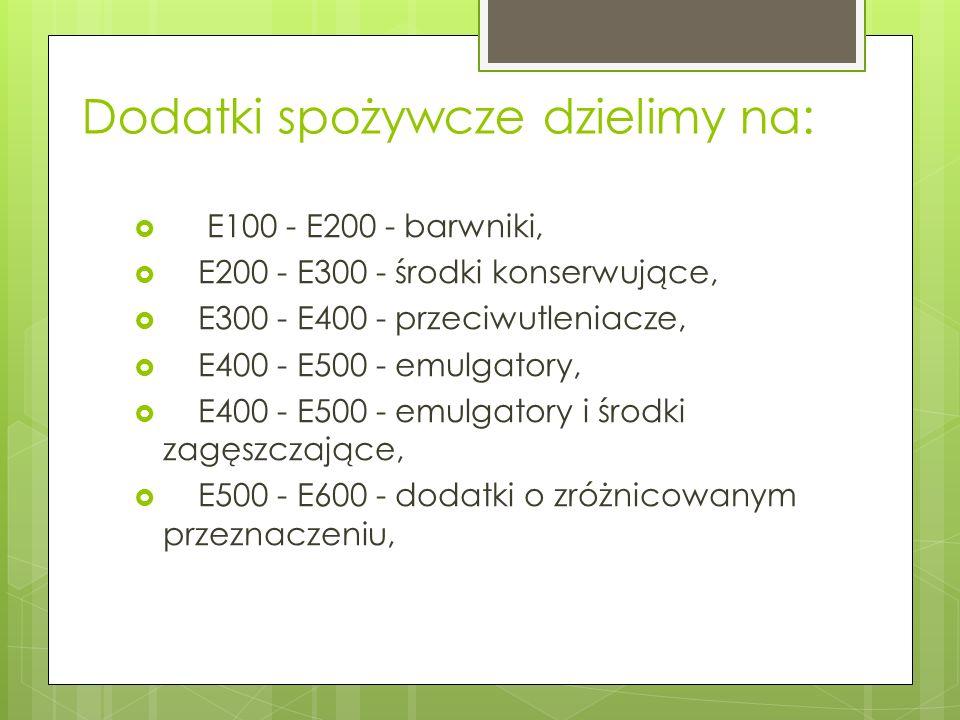 Dodatki spożywcze dzielimy na: