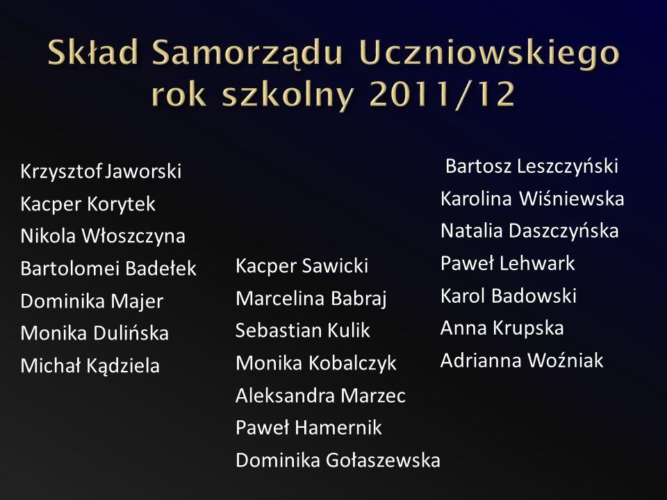 Skład Samorządu Uczniowskiego rok szkolny 2011/12
