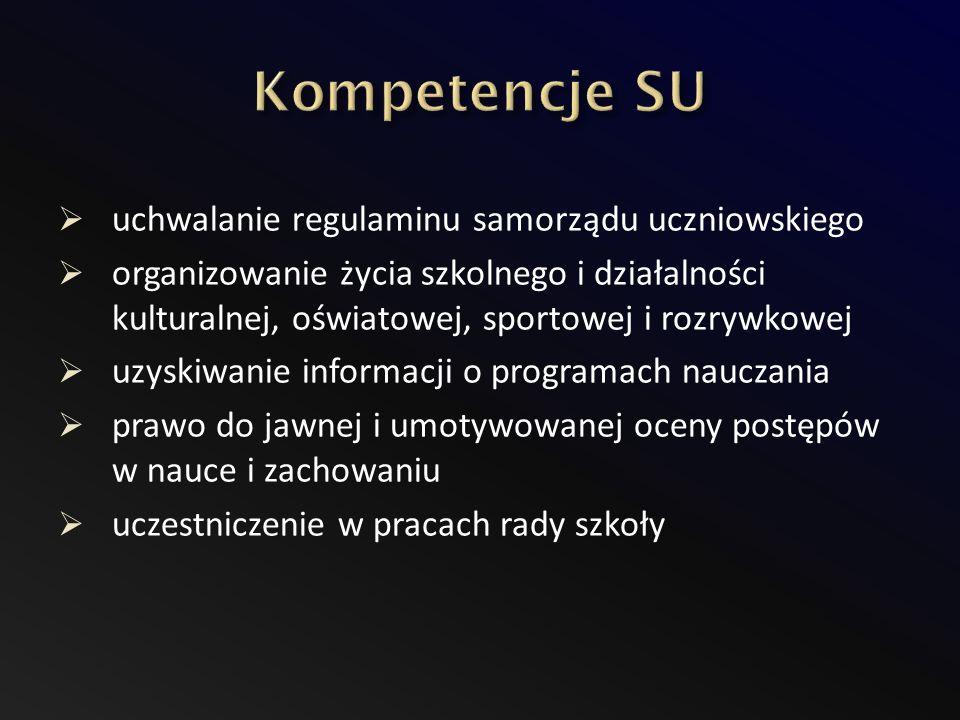 Kompetencje SU uchwalanie regulaminu samorządu uczniowskiego