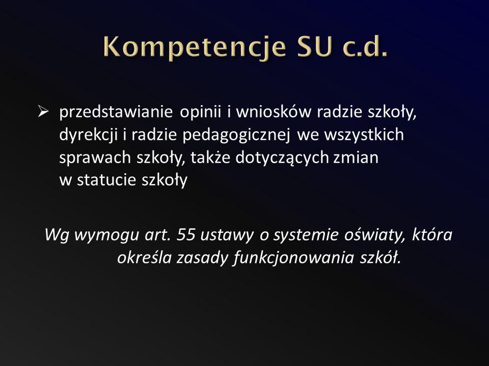 Kompetencje SU c.d.