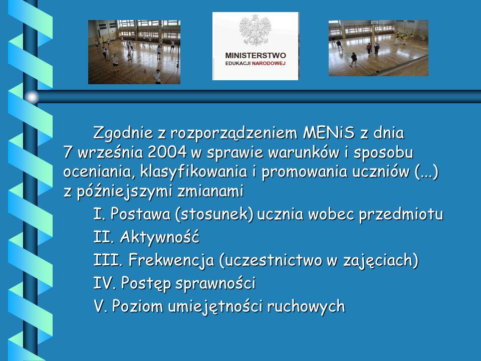 Zgodnie z rozporządzeniem MENiS z dnia 7 września 2004 w sprawie warunków i sposobu oceniania, klasyfikowania i promowania uczniów (...) z późniejszymi zmianami