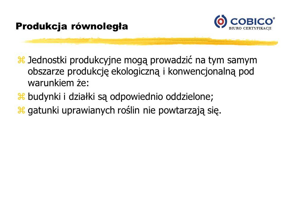 Produkcja równoległa Jednostki produkcyjne mogą prowadzić na tym samym obszarze produkcję ekologiczną i konwencjonalną pod warunkiem że: