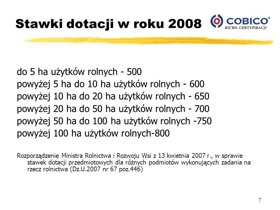 Stawki dotacji w roku 2008 do 5 ha użytków rolnych - 500