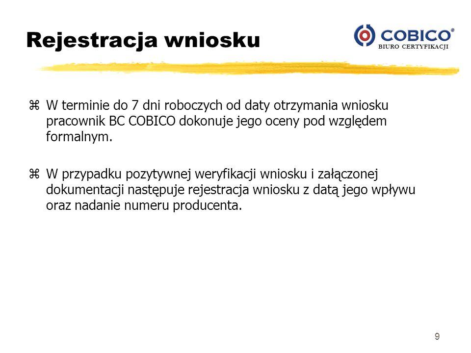 Rejestracja wniosku W terminie do 7 dni roboczych od daty otrzymania wniosku pracownik BC COBICO dokonuje jego oceny pod względem formalnym.