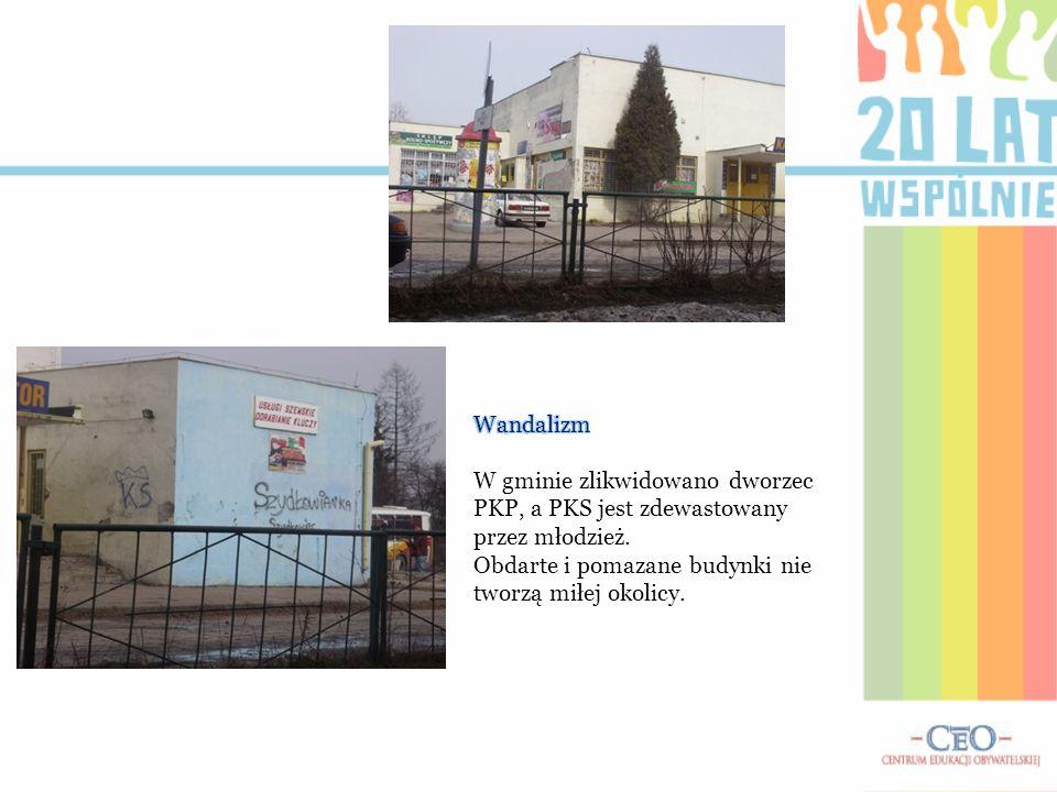 WandalizmW gminie zlikwidowano dworzec PKP, a PKS jest zdewastowany przez młodzież.