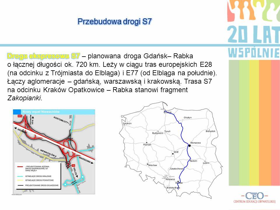 Przebudowa drogi S7 Droga ekspresowa S7 – planowana droga Gdańsk– Rabka.