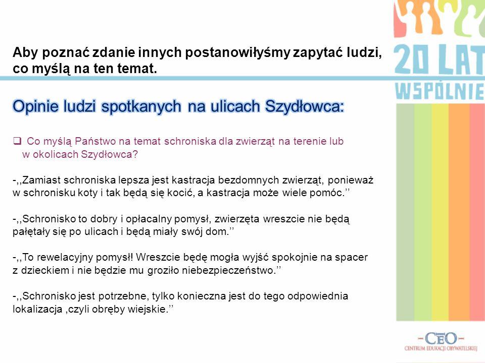 Opinie ludzi spotkanych na ulicach Szydłowca: