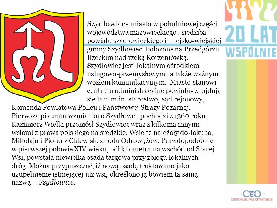 Szydłowiec- miasto w południowej części województwa mazowieckiego , siedziba powiatu szydłowieckiego i miejsko-wiejskiej gminy Szydłowiec. Położone na Przedgórzu Iłżeckim nad rzeką Korzeniówką.