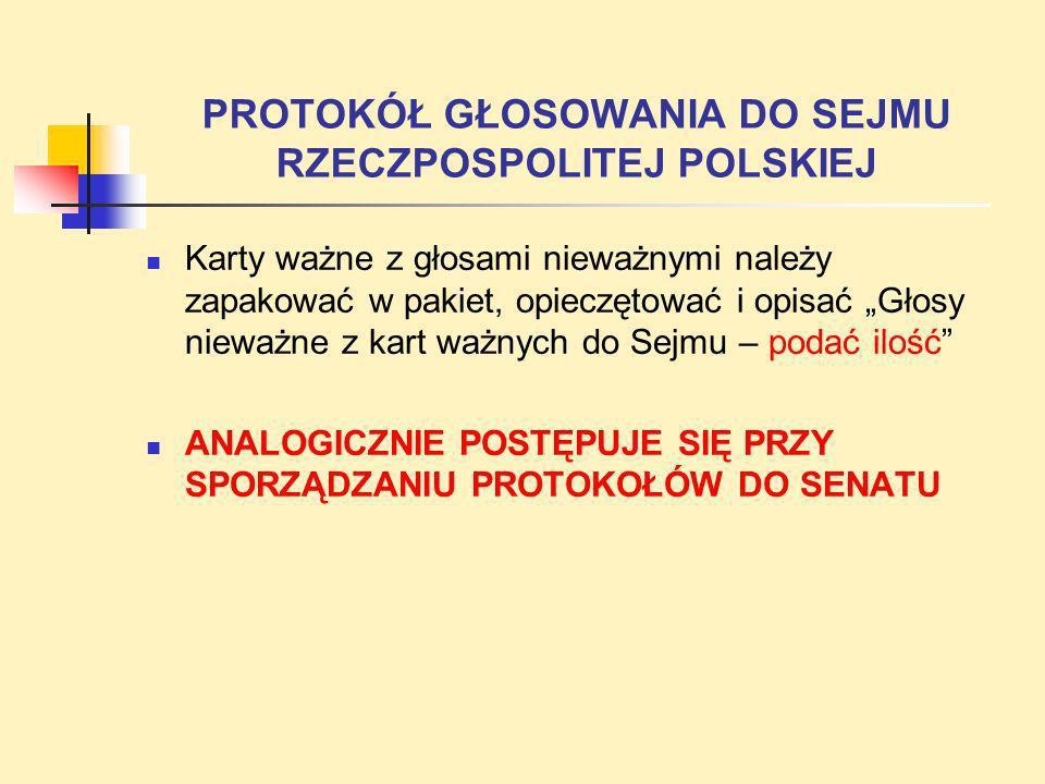 PROTOKÓŁ GŁOSOWANIA DO SEJMU RZECZPOSPOLITEJ POLSKIEJ