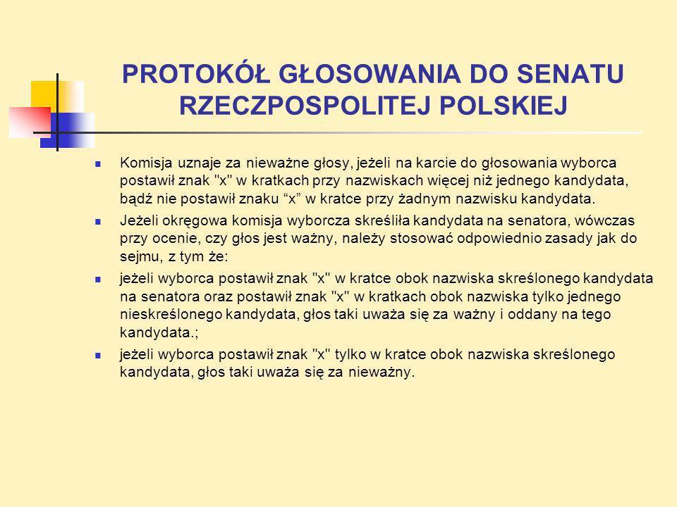 PROTOKÓŁ GŁOSOWANIA DO SENATU RZECZPOSPOLITEJ POLSKIEJ