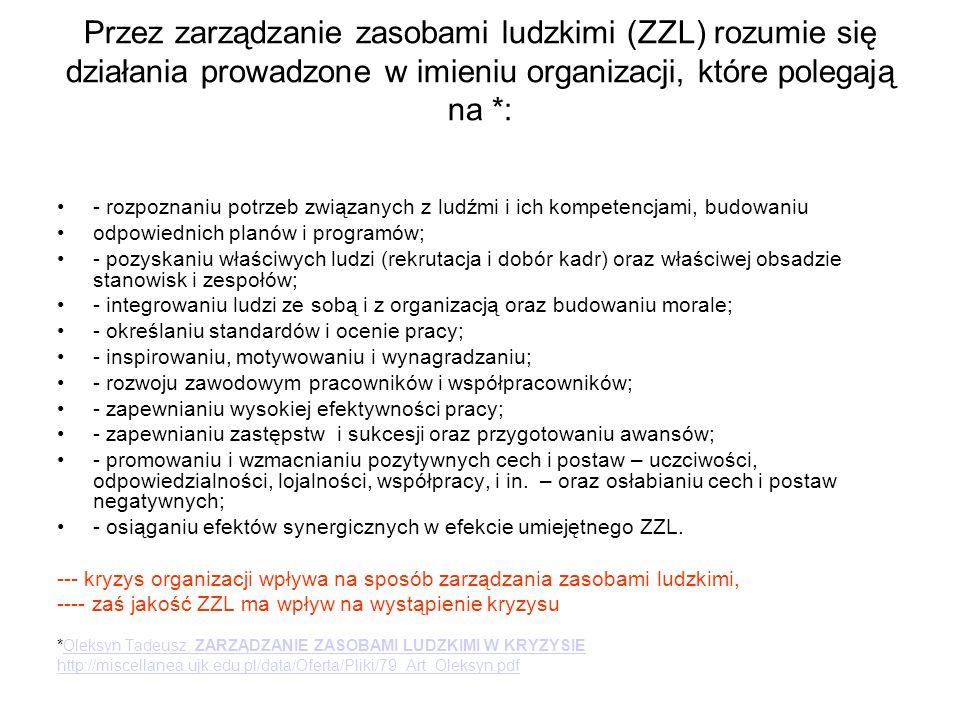 Przez zarządzanie zasobami ludzkimi (ZZL) rozumie się działania prowadzone w imieniu organizacji, które polegają na *: