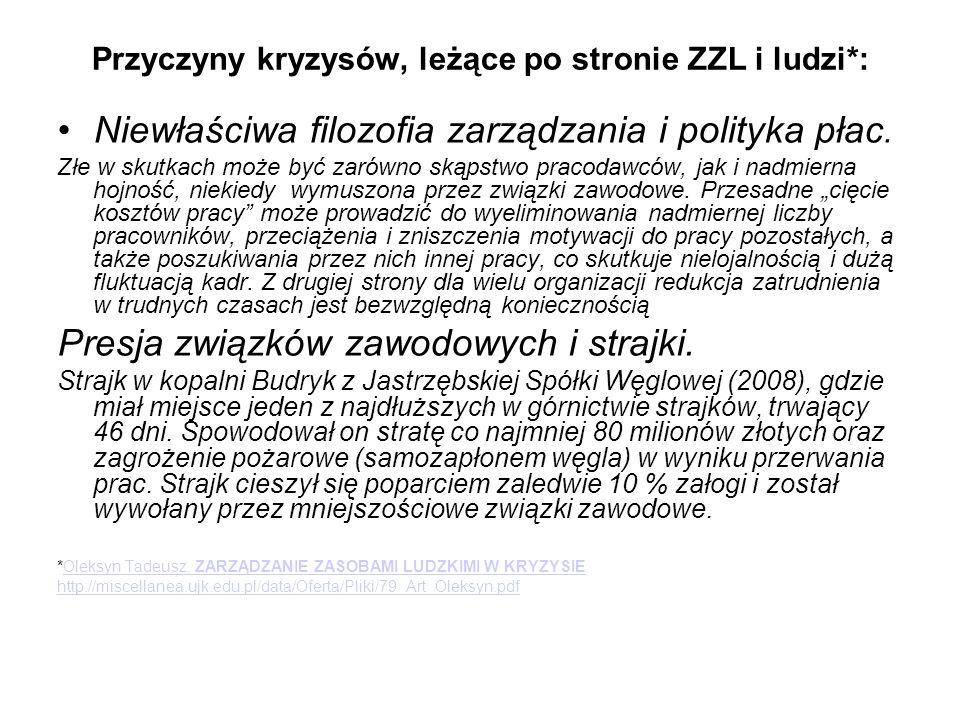 Przyczyny kryzysów, leżące po stronie ZZL i ludzi*: