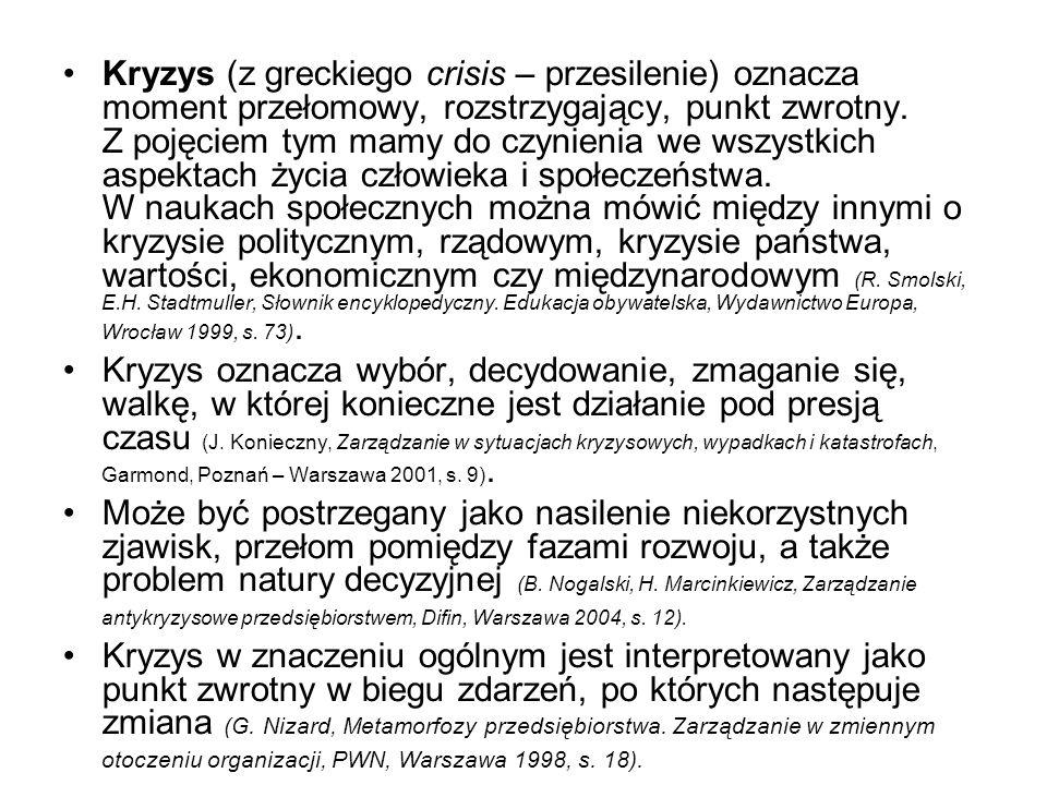 Kryzys (z greckiego crisis – przesilenie) oznacza moment przełomowy, rozstrzygający, punkt zwrotny. Z pojęciem tym mamy do czynienia we wszystkich aspektach życia człowieka i społeczeństwa. W naukach społecznych można mówić między innymi o kryzysie politycznym, rządowym, kryzysie państwa, wartości, ekonomicznym czy międzynarodowym (R. Smolski, E.H. Stadtmuller, Słownik encyklopedyczny. Edukacja obywatelska, Wydawnictwo Europa, Wrocław 1999, s. 73).
