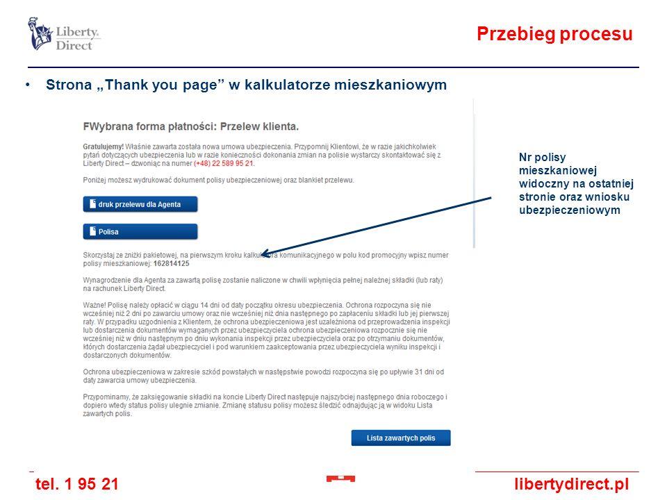 """Przebieg procesu Strona """"Thank you page w kalkulatorze mieszkaniowym"""