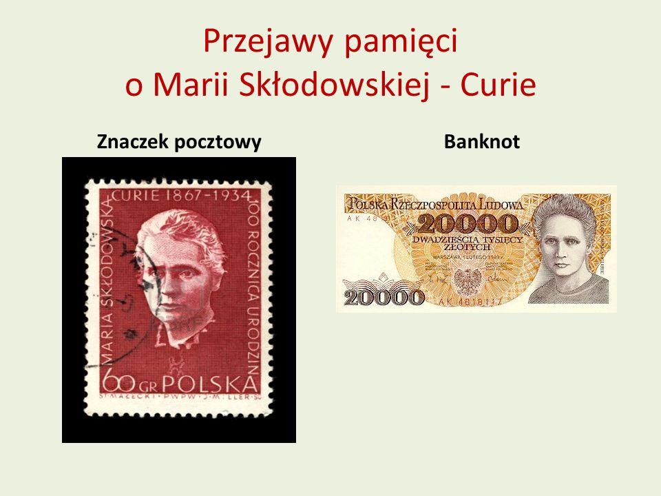 Przejawy pamięci o Marii Skłodowskiej - Curie