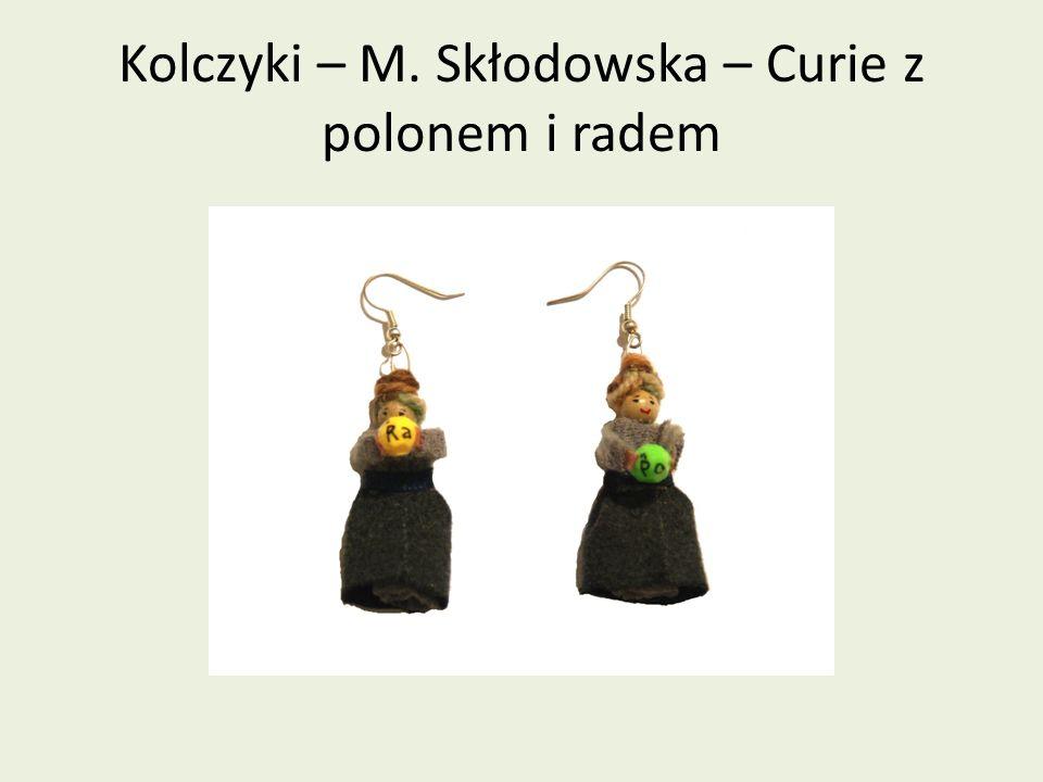 Kolczyki – M. Skłodowska – Curie z polonem i radem