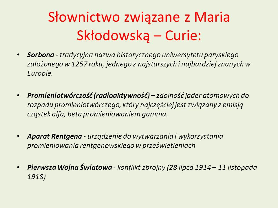 Słownictwo związane z Maria Skłodowską – Curie: