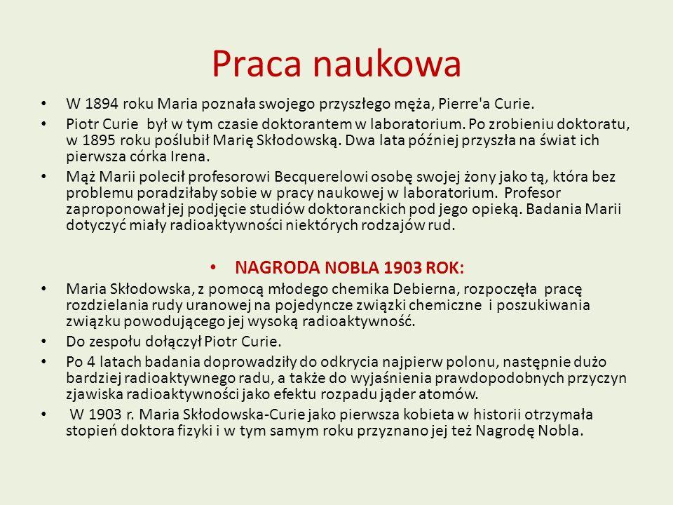 Praca naukowa NAGRODA NOBLA 1903 ROK: