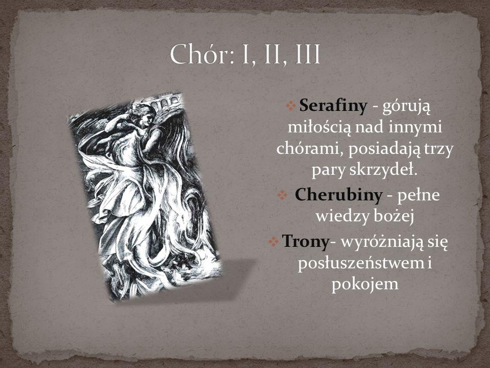 Chór: I, II, IIISerafiny - górują miłością nad innymi chórami, posiadają trzy pary skrzydeł. Cherubiny - pełne wiedzy bożej.