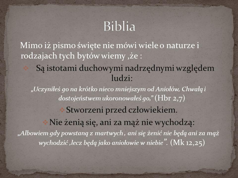 Biblia Mimo iż pismo święte nie mówi wiele o naturze i rodzajach tych bytów wiemy ,że : Są istotami duchowymi nadrzędnymi względem ludzi: