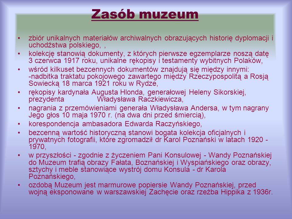 Zasób muzeum zbiór unikalnych materiałów archiwalnych obrazujących historię dyplomacji i uchodźstwa polskiego, ,