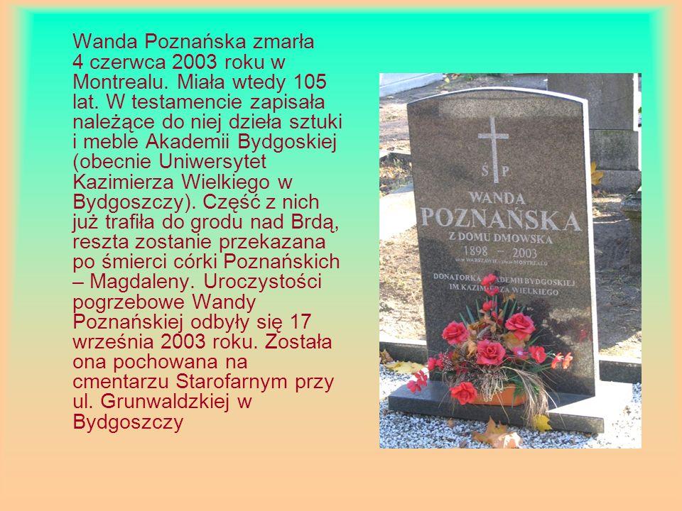 Wanda Poznańska zmarła 4 czerwca 2003 roku w Montrealu