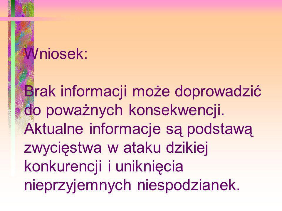 Wniosek: Brak informacji może doprowadzić do poważnych konsekwencji