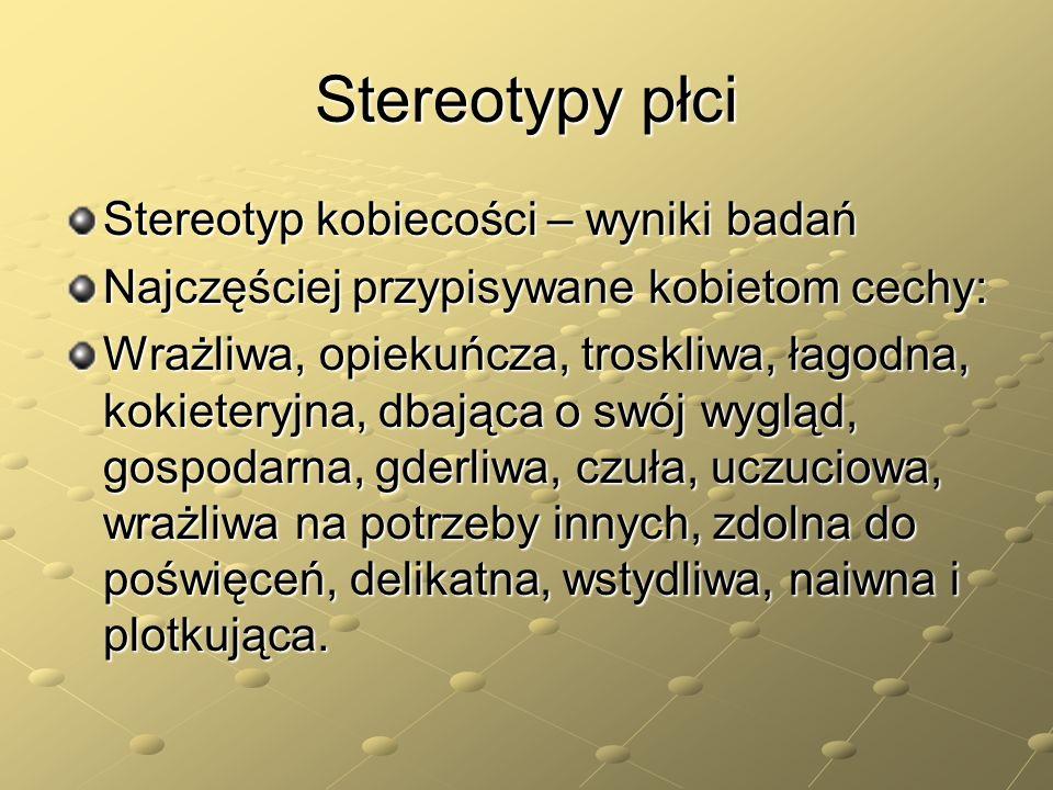Stereotypy płci Stereotyp kobiecości – wyniki badań