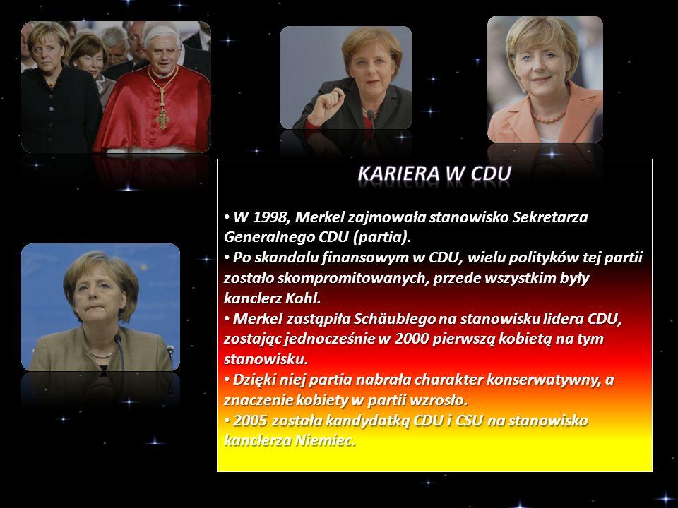 Kariera w CDU W 1998, Merkel zajmowała stanowisko Sekretarza Generalnego CDU (partia).