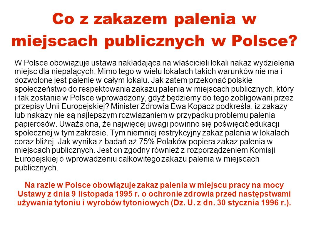 Co z zakazem palenia w miejscach publicznych w Polsce